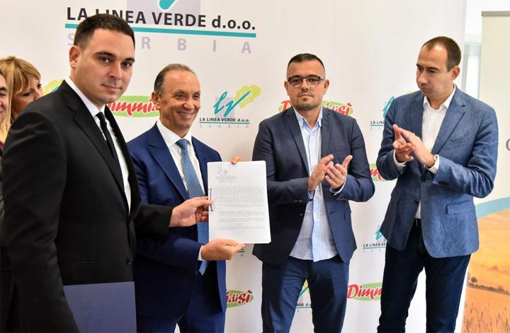 Il Ministro dell'Agricoltura serbo Branislav Nedimovic visita lo stabilimento serbo del gruppo italiano La Linea Verde