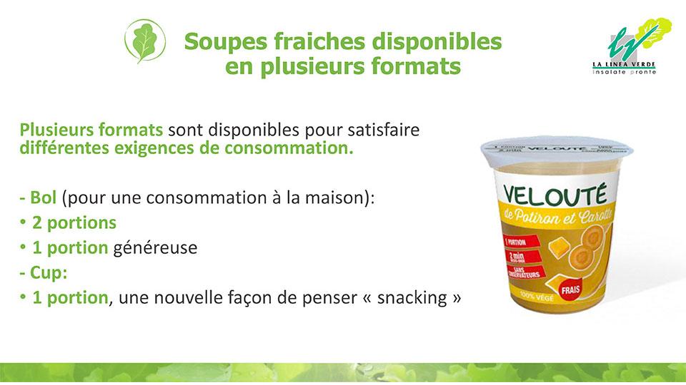 Soupes fraiches disponibles en plusieurs formats