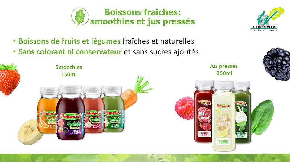 Boissons fraiches: smoothies et jus pressés La linea verde