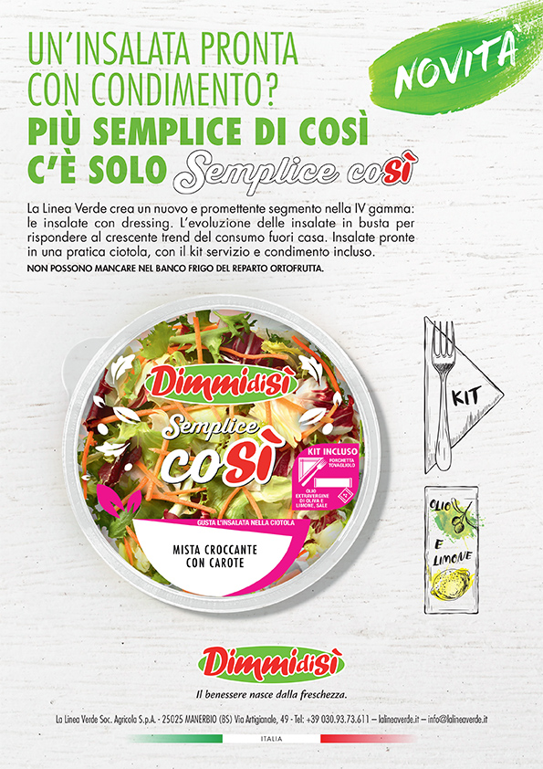 Con SEMPLICE COSÌ DimmidiSì apre un nuovo segmento del mercato di IV gamma: le insalate con dressing ideali per il consumo fuori casa