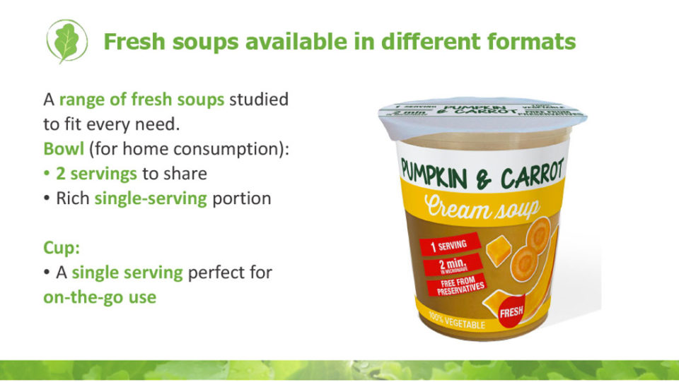 Fresh soups available in different formats La linea verde