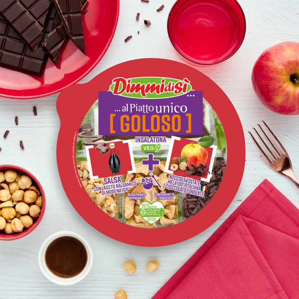 l'Insalatona con Mela italiana, nocciole tostate e cioccolato fondente- DimmidiSì